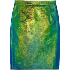 Milly Edith holographic reptile-effect leather skirt ($310) ❤ liked on Polyvore featuring skirts, bottoms, green, milly, metallic, knee length, knee high skirts, metallic leather skirt, real leather skirt and metallic skirts