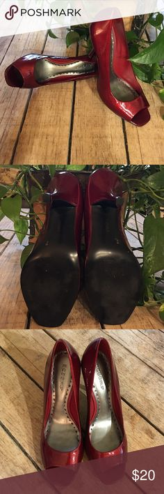BCBGirls Candy Apple Red Peep-toe Pump BCBGirls candy Apple red peep-toe pump. Size 8B. Perfect condition . Only sign of wear is on bottom of sole. No scuff marks no tears in leather. The tips of heel are not worn down at all. BCBGirls Shoes Heels