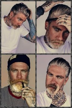 one of the best bearded tattooed models out there! Ricki Hall is awesome too Moustache, Beard No Mustache, Hot Beards, Grey Beards, Bearded Tattooed Men, Bearded Men, Bart Tattoo, Sexy Bart, Beard Boy