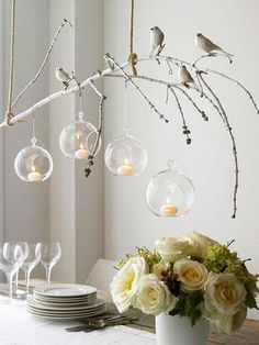 tree branch decor ideas for lighting with candle and birds over dining table : Branch Decor Ideas For Home. branch decor wall art,branch home decor,branch wall decor,decorating the home,tree branch decor Branch Chandelier, Branch Decor, Chandelier Ideas, Branch Art, Bird Branch, Diy Candle Chandelier, Homemade Chandelier, Tree Branch Crafts, Unique Chandelier