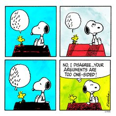 Snoopy and Woodstock have an argument.