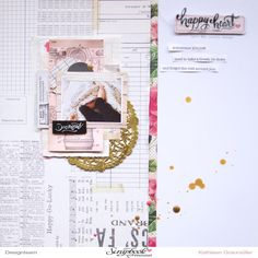 Scattered Confetti Scrap: Happy Heart. [An Open Book Layout] // #cratepaper #maggieholmes
