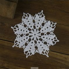 12 pcs Handmade Crocheted Doilies White Sonwflake by ColoredHome