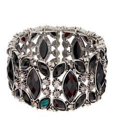 Loving this Silvertone & Black Teardrop Stretch Bracelet on #zulily! #zulilyfinds