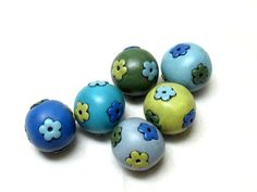 6 round floral beads vintage style beads rustic style    beads handmade hollow beads