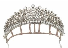 Antique Tiara (ca. 1890; diamonds, silver, gold).