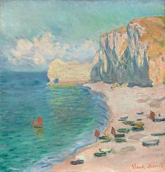 Claude Monet French, 1840-1926, Étretat: The Beach and the Falaise d'Amont #OilPaintingSeascape