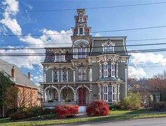1860 Second Empire In Claysville Pennsylvania — Captivating Houses Ruskin Florida, Second Mortgage, Mortgage Tips, May House, Cherry Wood Cabinets, Stone Mansion, Mansions For Sale, Second Empire, Luxury Bath