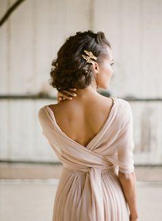 Delicate Cafe au Lait Chiffon Wedding Dress | Greg Finck Photography | http://heyweddinglady.com/dreamy-blue-latte-wedding-palette/