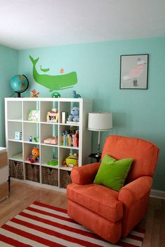 Love the colors of this boy room - lime green, orange, and robin's egg blue.