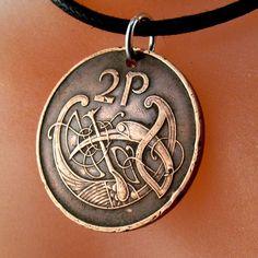 Pièce de monnaie irlandaise Irlande collier pièce oiseau celtique noeud pendentif eire. noeud d