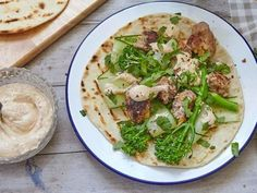 How to make lamb koftas with tenderstem broccoli and tahini sauce Cilantro, Queso Feta, Tahini, Salsa, Hummus, Risotto, Ethnic Recipes, Food, Plain Yogurt