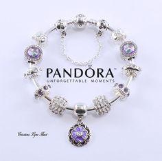 Authentique bracelet PANDORA rigide en argent sterling  avec tous les charmes et la boite cadeau Pandora ( P-218 ) de la boutique CreationsLyneHuot sur Etsy
