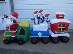 inflatable outdoor christmas decoration santa train