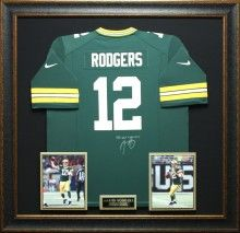 Joe montana signed jersey framed with football cards sogned photos for yourself or as a gift buy this framed aaron rodgers jersey authentically autographed by the legend himself signed jersey is framed with photographs solutioingenieria Gallery