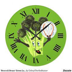 'Broccoli Bruno' Green Large Round Wall Clock