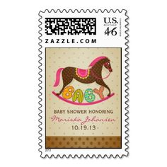 """Girl Baby Shower Rocking Horse Postage Stamps  Adorable custom postage stamp featuring a beautifully drawn brown polka dot horse, word """"BABY"""" in decorative letters, light brown polka dot top background with mini brown flowers bottom border. Very easy to personalize, just replace the provided text with your desired information. Also has matching invitation, thank you card, sticker, and return address label."""