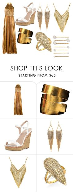 """""""Nancy Ajram inspired outfit"""" by katieloveskpop ❤ liked on Polyvore featuring Maria Lucia Hohan, Hervé Van Der Straeten, Charles by Charles David, Carolee, Bavna and Jennifer Behr"""
