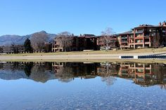 Resort Reflection - Watermark Beach resort reflects perfectly in the still waters of Osoyoos Lake.