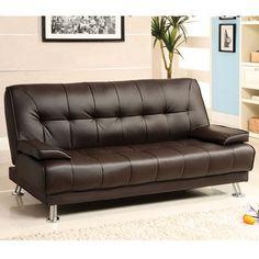 Beaumont Dark Brown Leatherette Finish Sofa Futon Set