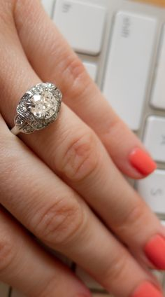 Deco stunner from the 1920's vintage engagement ring