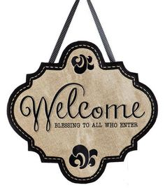 "Burlap welcome door hanger with elegant """"Welcome, Blessing to All Who Enter"""" lettering embroidered on textured polyester fabric that looks and feels like real burlap and then sewn onto a black fabri"