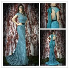 Sexy open back see through mermaid evening dress women summer dress 2014 Evening Party Formal Dresses long Prom gowns DY-386 $155.99