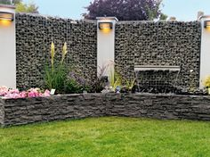 Gabionen - All For Garden Gabion Fence, Gabion Wall, Water Walls, Low Maintenance Garden, Garden Landscape Design, Backyard Fences, Fence Design, Garden Planning, Garden Projects