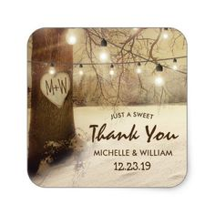Rustic Winter Tree Twinkle Lights Wedding Square Sticker - diy cyo customize create your own personalize