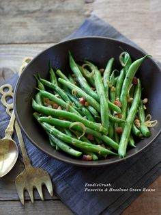 Pancetta and Hazelnut Green Beans. A great entertaining side dish alternative to traditional green bean casserole. Veggie Side Dishes, Vegetable Dishes, Spinach Recipes, Vegetable Recipes, Easy Thanksgiving Recipes, Thanksgiving Menu, Green Bean Recipes, Cooking Recipes, Healthy Recipes