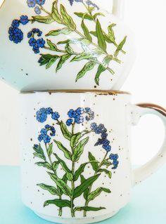Set of Vintage Wildflower Coffee Mugs