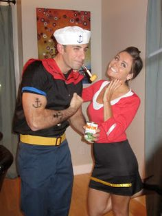 popeye and olive oil costumes @Hannah Mestel Mestel Clarke you and your hubby would be so cute!