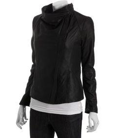 Elie Tahari : black lamb leather 'Virgina' wide collar asymmetrical jacket : style # 314010802