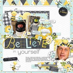 A perfect digital scrapbook layout idea for Spring...or have that nasty encounter with bees!ha,ha  A terrific Spring scrapbook layout idea or for the picnic or outdoor memories.  Scrapbook layout created using Bee-lightful Collection from Nitwit Collections #digitalscrapbook