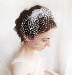 Wedding birdcage veil with pearl small wedge bridal veil FROST russian veiling, ivory beige or white bird cage veil by thehoneycomb, Etsy