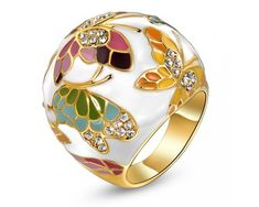 Yellow Gold Plated Clear Crystal Enamel Buttterfly Ring Gift Box Logo Jewelry Japanese Style Fashion Ring Jewellery RAG05108BD