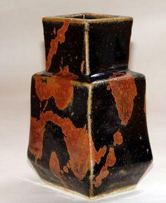 Kawai KANJIRO (Japanese: 1890-1966) -  Dynamic Black Splashed Vase - Stoneware (pre 1960)