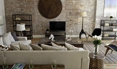 Industrial Living Room Decor Minimalist Design With Big Natural Wood Clock In Cool Industrial Warehouse Living Room Decor On Living Room Industrial Home Design, Rustic Industrial, Home Interior Design, Industrial Living, Industrial Bedroom, Interior Modern, Interior Paint, Industrial Decorating, Copper Interior