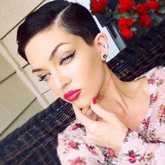 Black hair pixie hair cut; Heather Symmes