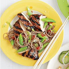 Hoisin-Grilled Chicken with Soba Noodles | MyRecipes.com