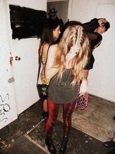 Black Boots, Red Velvet Pants, Grey Tank, Simple Necklace... Punk Grunge