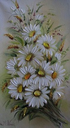 Oil Painting Flowers Art Black And White Flower Wall Palette Knife Floral Painting Transparent Oil Colors Easy Sunflower Paintings Daisy Painting, Oil Painting Flowers, Texture Painting, Fabric Painting, Sunflower Paintings, Tole Painting, Acrylic Flowers, Palette Knife Painting, Arte Floral