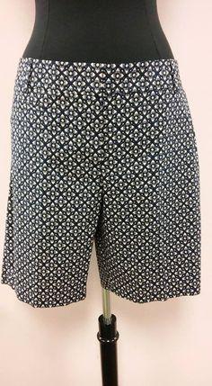 "*NEW* Navy White Patterned ""Marisa"" Womens Shorts Ann Taylor LOFT Size 12 NWT #AnnTaylorLOFT #CasualShorts"