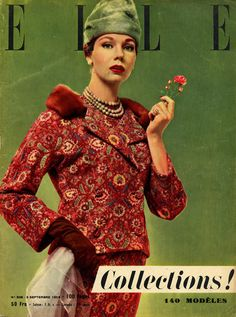 Elle n°508 de septembre 1955, tailleur Christian Dior, photo Jean Chevalier