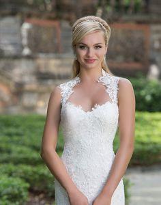 41b7f00e Queen Anne Neckline & Illusion Back Wedding Gown- Sincerity 3885