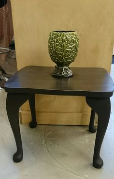Side table painted in Graphite Chalkpaint™ and finished with Dark Wax