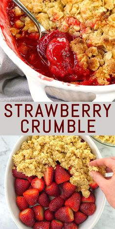 Easy Strawberry Crumble - a good comforting crumble is one of my favourite desserts. This cointreau dessert is a great one to add to your collection of cointreau recipes. The orange flavour pairs well with the fresh strawberries. Strawberry Crumble Recipe, Healthy Strawberry Recipes, Fresh Strawberry Desserts, Fruit Recipes, Cooking Recipes, Healthy Recipes, Desserts With Strawberries Easy, Strawberry Crisp, Desert Recipes