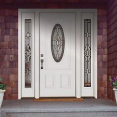 Feather River Doors Sapphire Patina 3/4 Oval Lite Primed Smooth Fiberglass Entry Door with Sidelites-1H3190-3B4 - The Home Depot