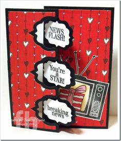 News Flash! created by Frances Byrne using TV2Stamp; Birthday4Cookie; Sampler2Love – The Stamps of Life and Sizzix Triple Fancy Frame Flip-its Card Framelits