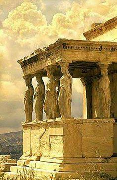 The Porch of the Caryatides, The Erechtheion Temple at the Acropolis in Athens, Greece.